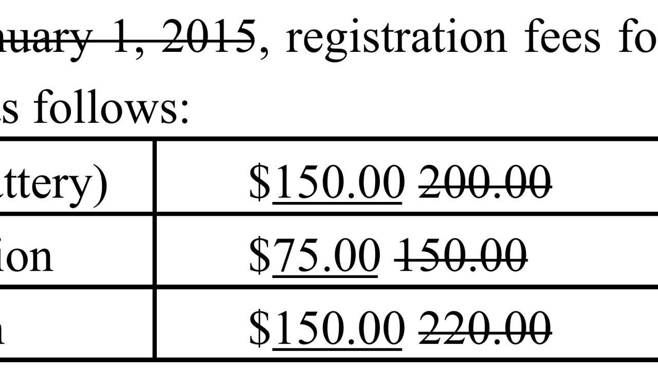 English 6-12 and Middle Grades Englis 5-9 Proposed Fees