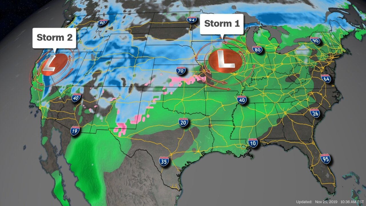 Major storms could disrupt trips on one of the busiest travel weeks of the year