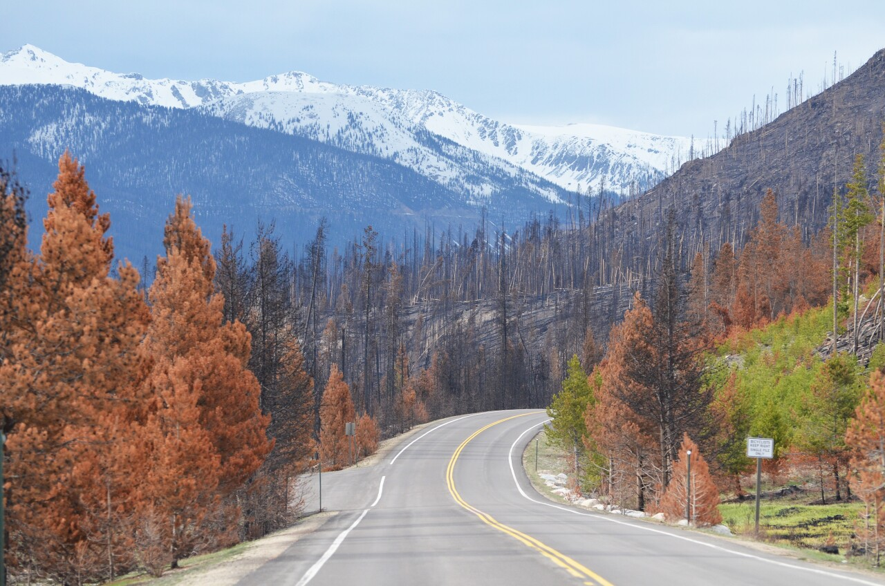 Western entrance to Rocky Mountain National Park after East Troublesome Fire