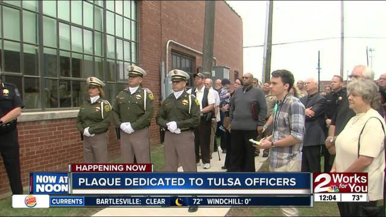 Plaque dedicated to Tulsa officers