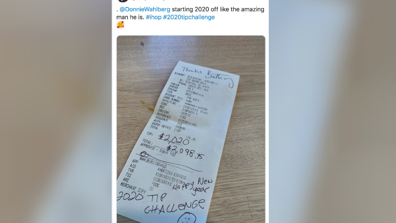 #2020TipChallenge: Celebrities, others start new year by tipping servers generously