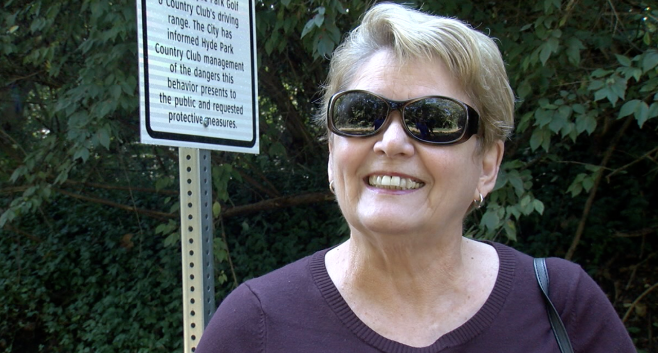Mary Tracy of Hyde Park walks the Wasson Way Trail on Sept. 28, 2021.