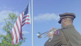 Sgt. 1st Class Thomas Davis of U.S. Army Field Band plays taps at Flight 93 Memorial in Shanksville, Pa. in honor of 9/11 anniversary