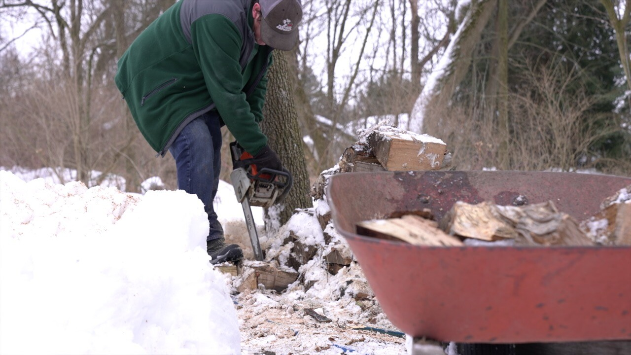 John Hayhoe Cutting Firewood