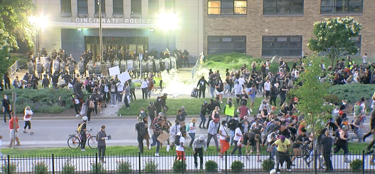 Protests outside Cincinnati Police District One Headquarters on May 30.