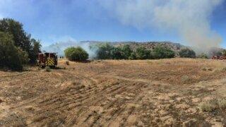 Smoke seen as firefighters battle Lakeside fire
