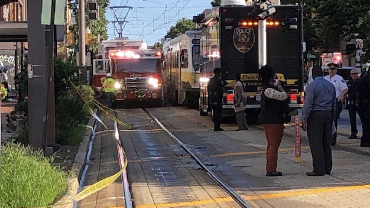 Collision between car and MTA Light Rail