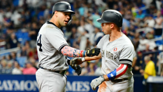 Gary Sanchez and Brett Gardner celebrate