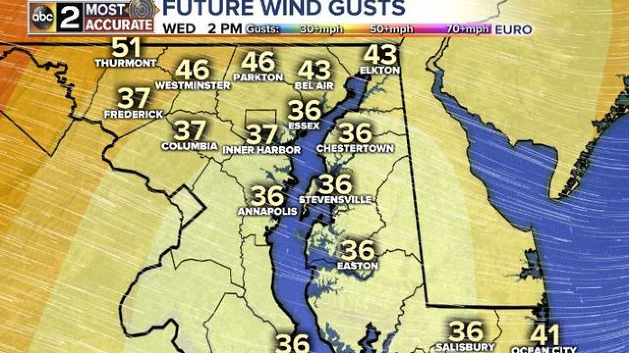 Gusty Winds & Storms Wednesday