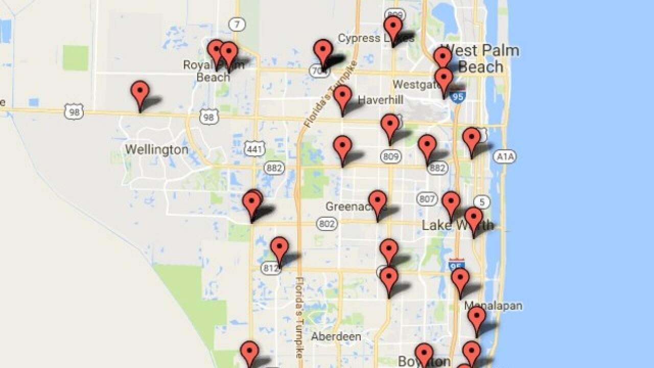 Interactive Florida Map.Interactive Map Gas Pump Skimmers Found In Palm Beach County