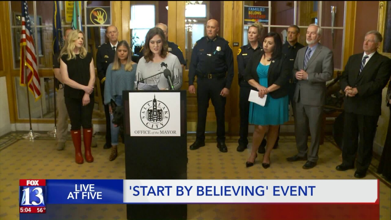 Salt Lake leaders hope 'Start by Believing' campaign, new legislation will encourage assault victims to make voicesheard