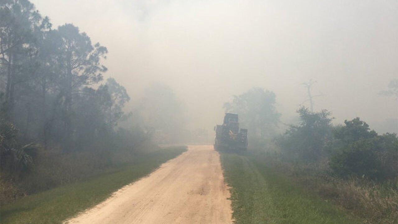 Firefighters battling wildfire near Fellsmere