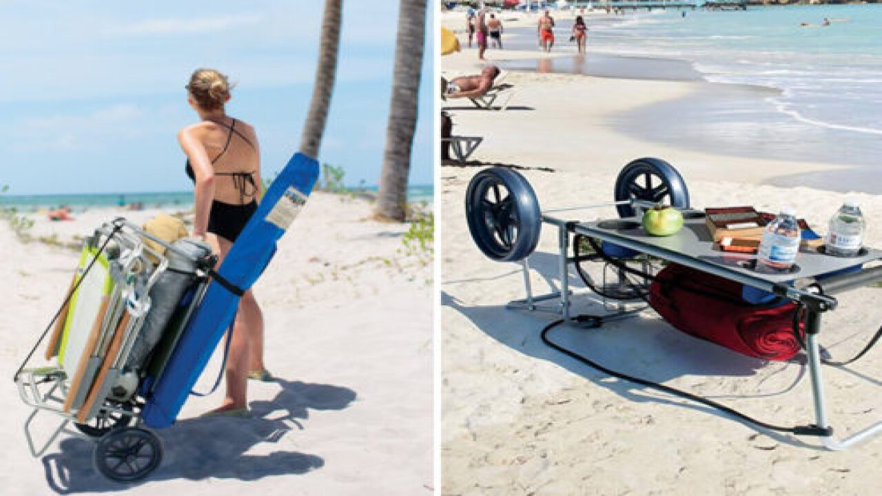 This Handy Beach Cart Turns Into A Table