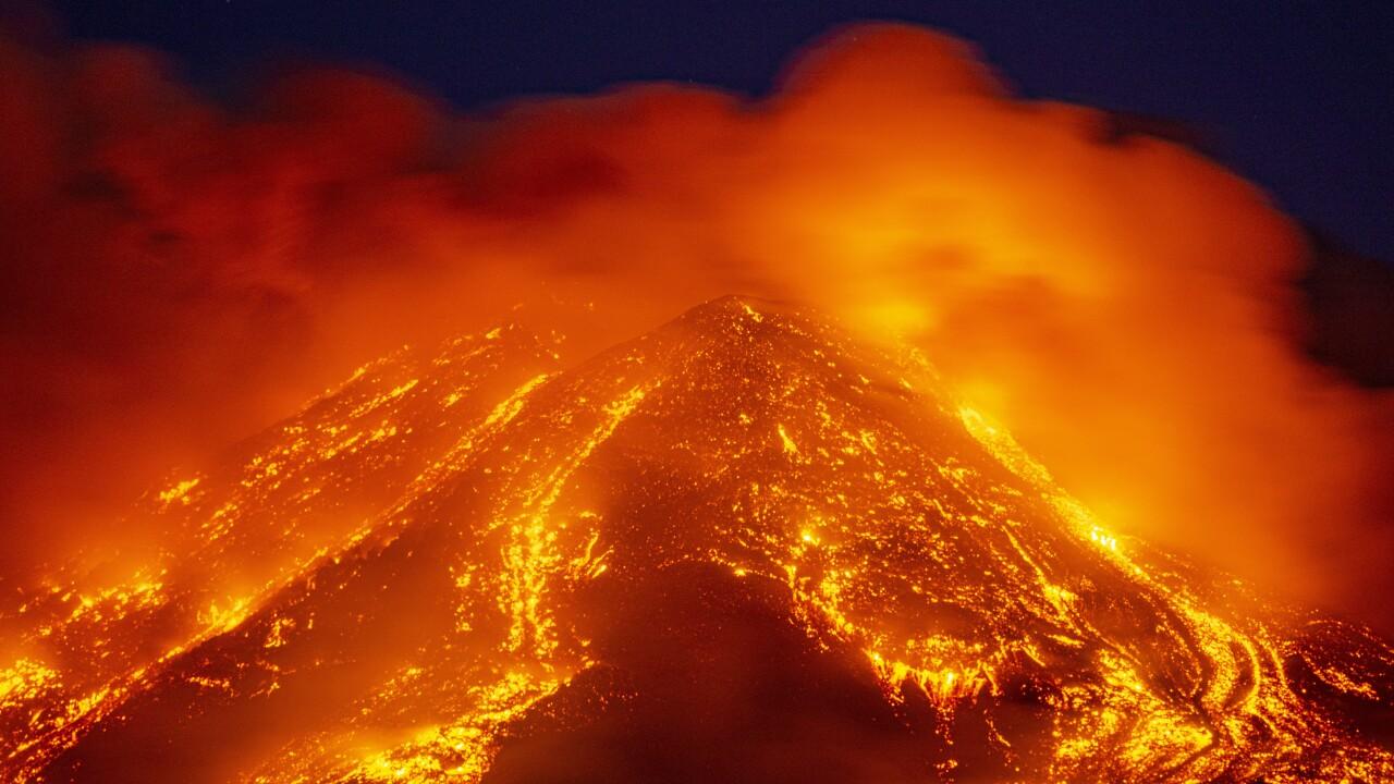 Italy Etna Volcano Explodes