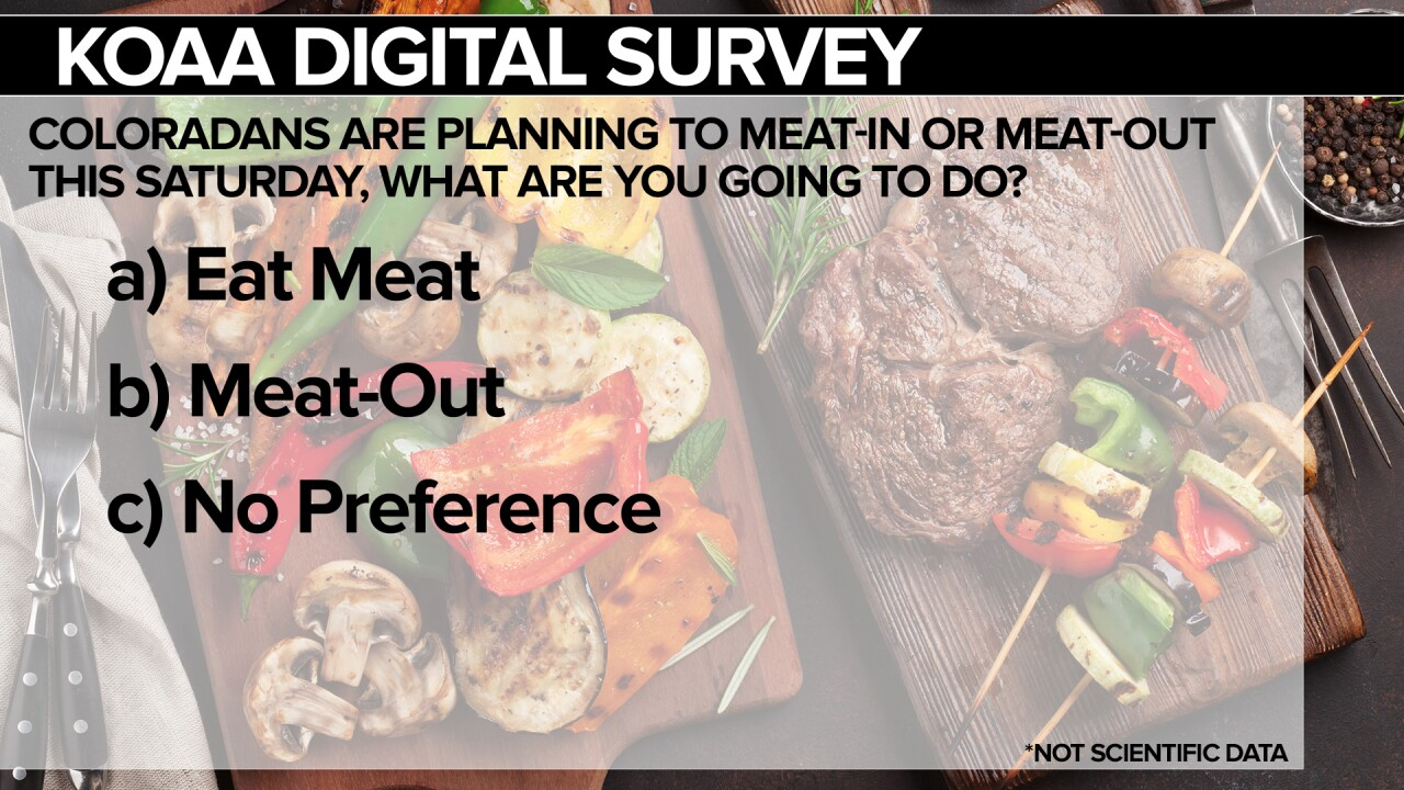 KOAA Survey: Coloradans are planning to meat-in or meat-out this Saturday, what are going to do?