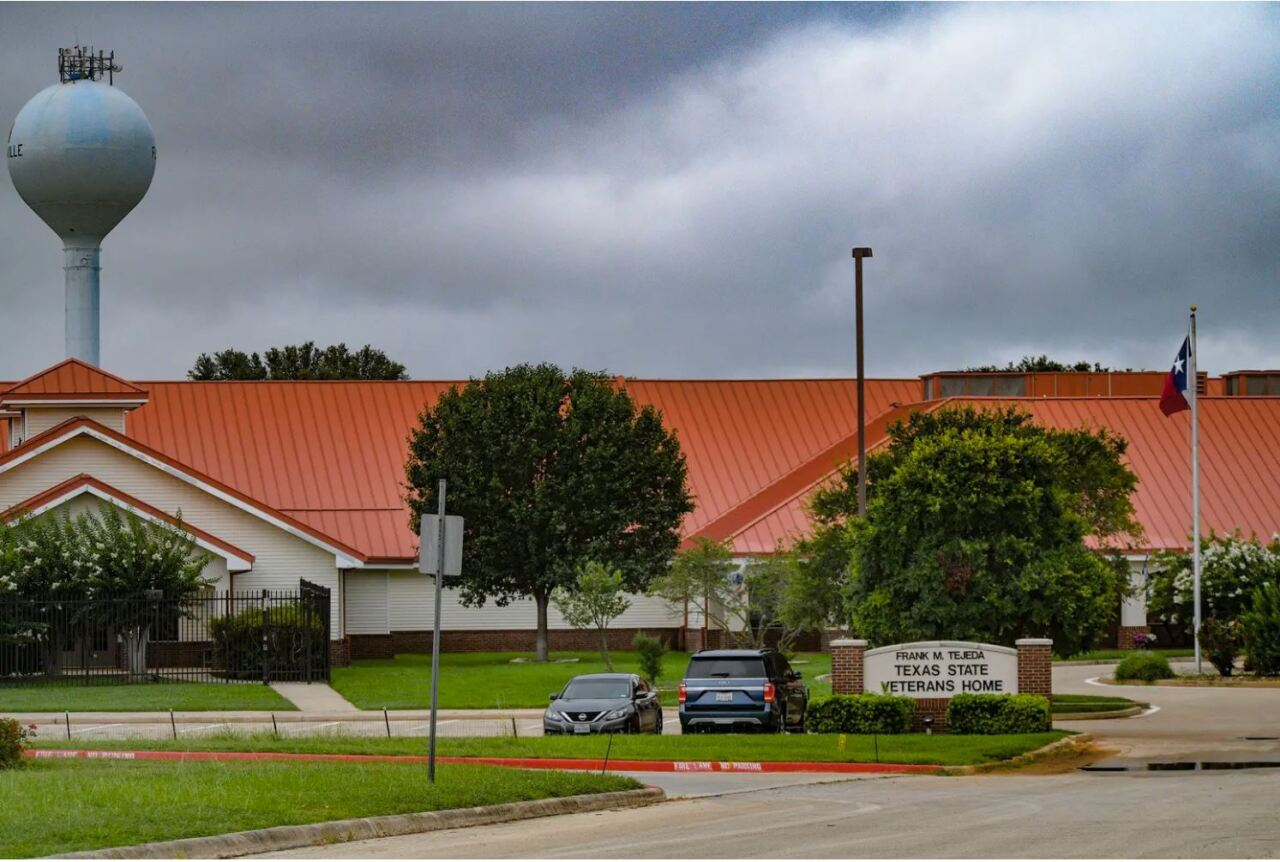 The Frank M. Tejeda Texas State Veterans Home in Floresville is administered by the Veterans Land Board. Land Commissioner George P. Bush's General Land Office hires the for-profit contractor that runs the facility. Credit: Billy Calzada