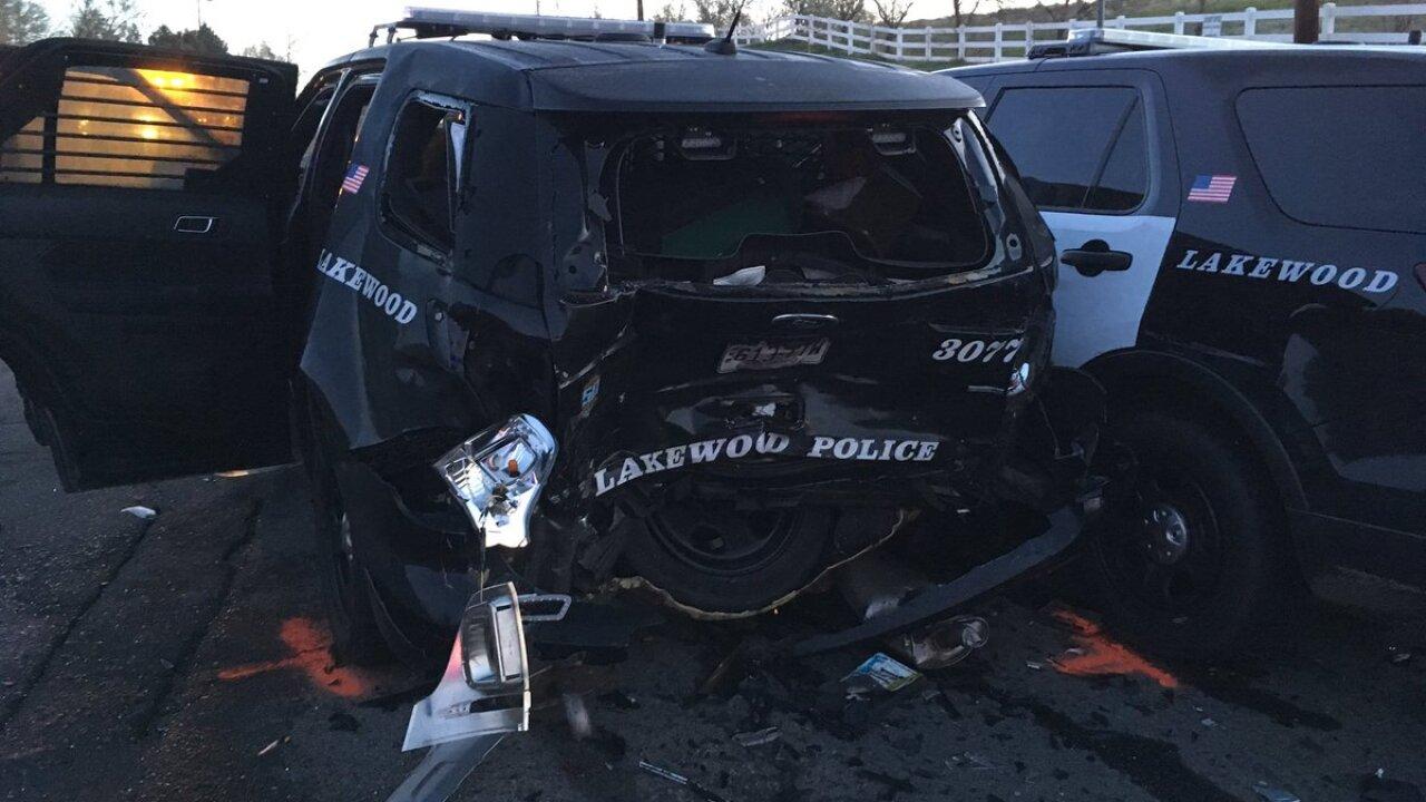 Lakewood Police car rammed