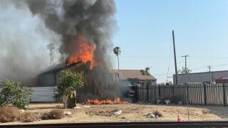 A structure fire erupted at a building along Union and Golden State avenues Thursday afternoon.