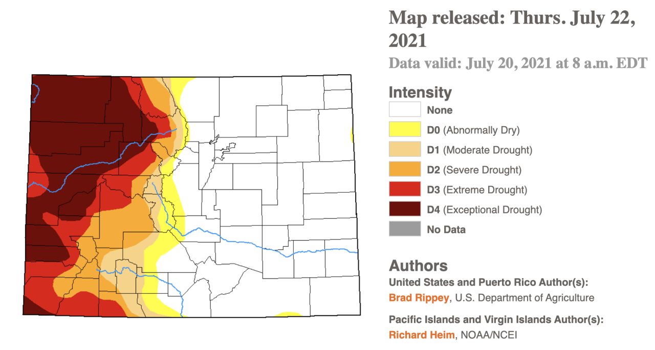 Drought monitor as of July 20 2021