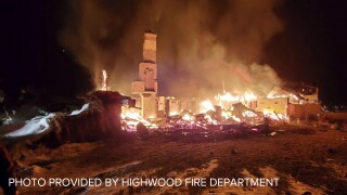 House destroyed by fire in the Highwood Mountains