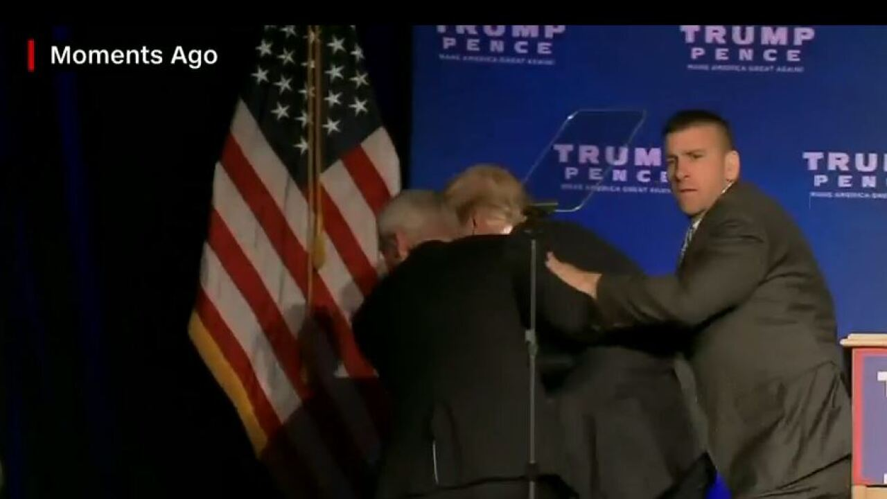 Video: Donald Trump rushed off stage at campaign rally in Reno