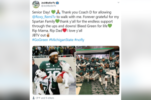 Football player who lost both parents celebrates Senior Day by taking the field with his two dogs
