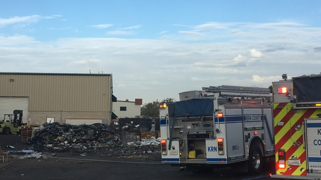 Tank catches fire inside Oildale warehouse