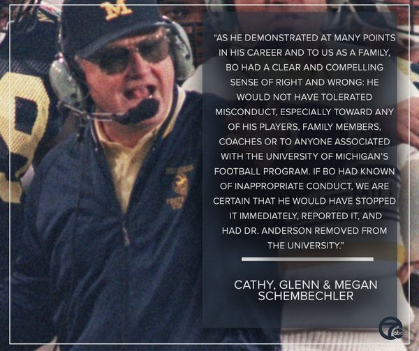Comments by Bo Schembechler's Family