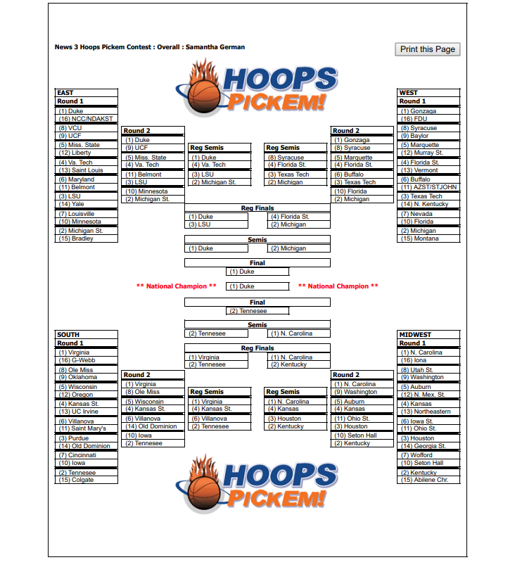 Photos: News 3 This Morning fills out brackets, ready for the Big Dance