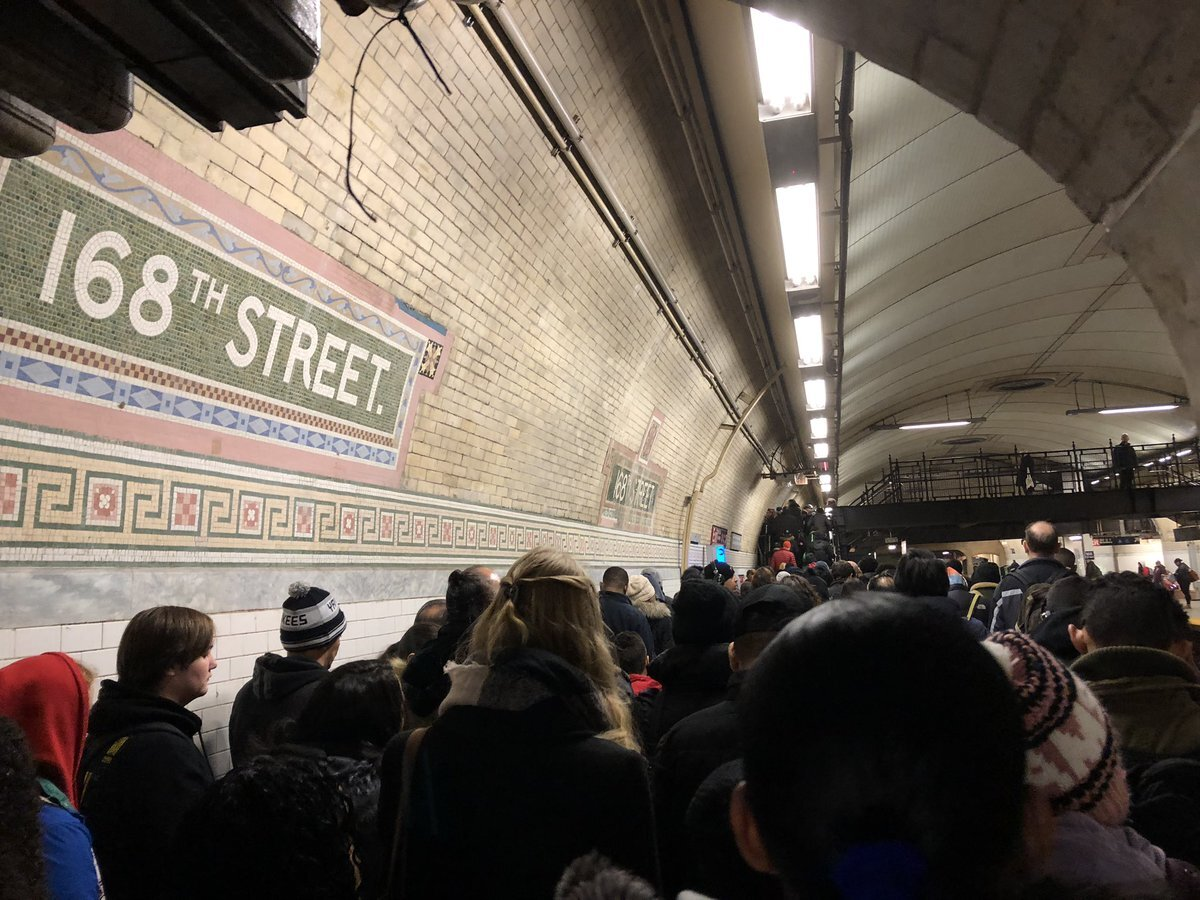 Crowded subway stations after Upper West Side water main break