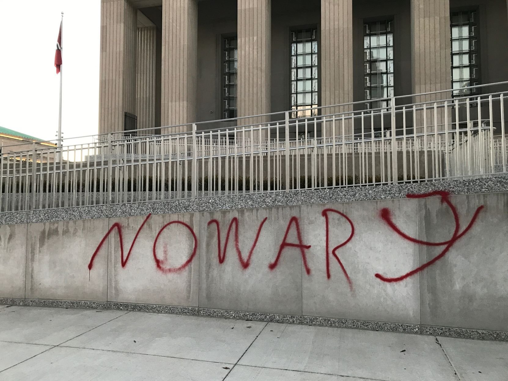 Photos: Soldiers Memorial in St. Louis vandalized with anti-wargraffiti