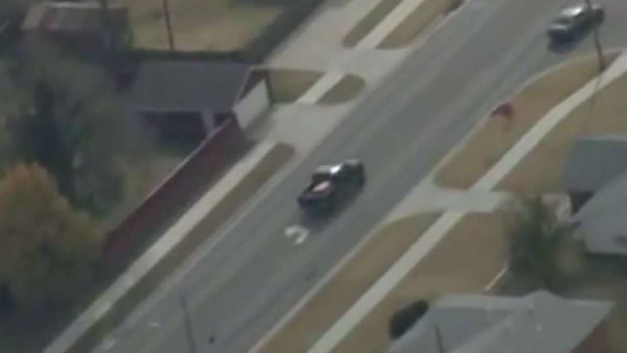 Oklahoma City Police chase stolen truck's driver down