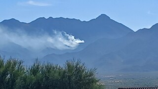 A fire is burning in the Santa Rita Mountains near Madera Canyon on the morning of Wednesday, Oct. 20, 2021.