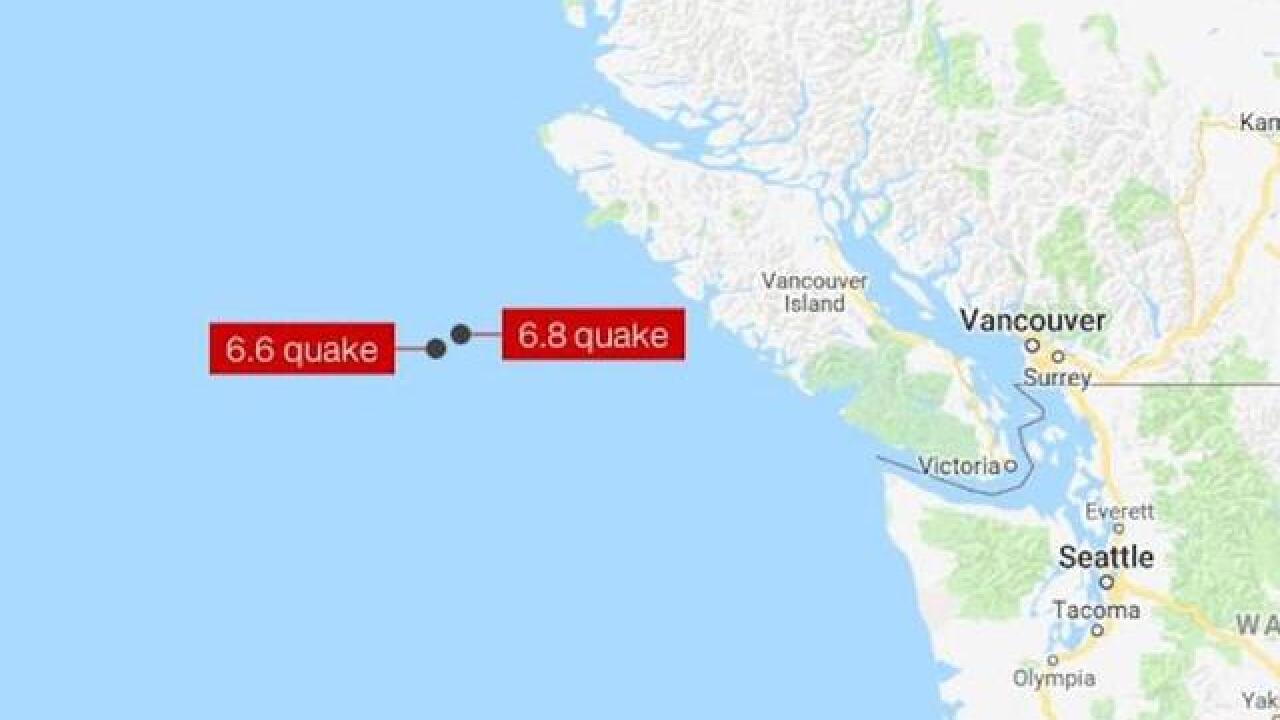 Magnitude 6.8 earthquake strikes off the coast of Canada; no tsunami threat