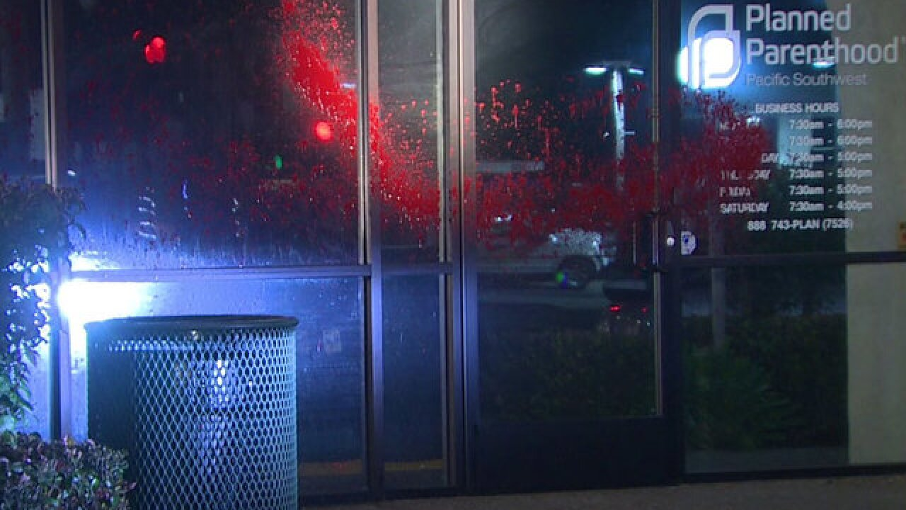 Vandals hit PB Planned Parenthood with red paint