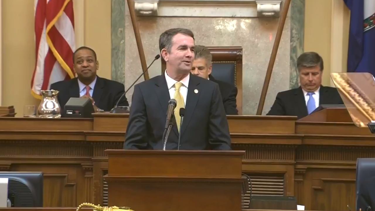 Governor Ralph Northam addresses Joint General Assembly