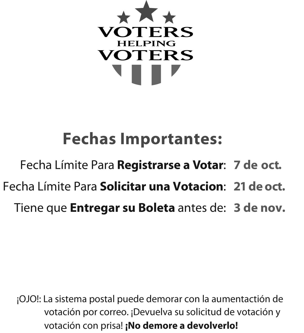 Important Dates Flyer Spanish