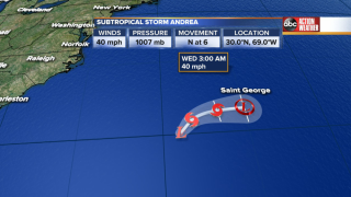 Subtropical Storm Andrea 5am 5-21