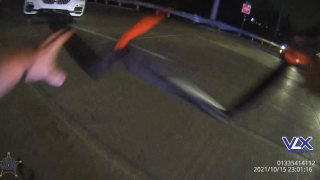 Screenshot of Boone County Sheriff's body camera video right before he's hit by a vehicle being pursued by police.