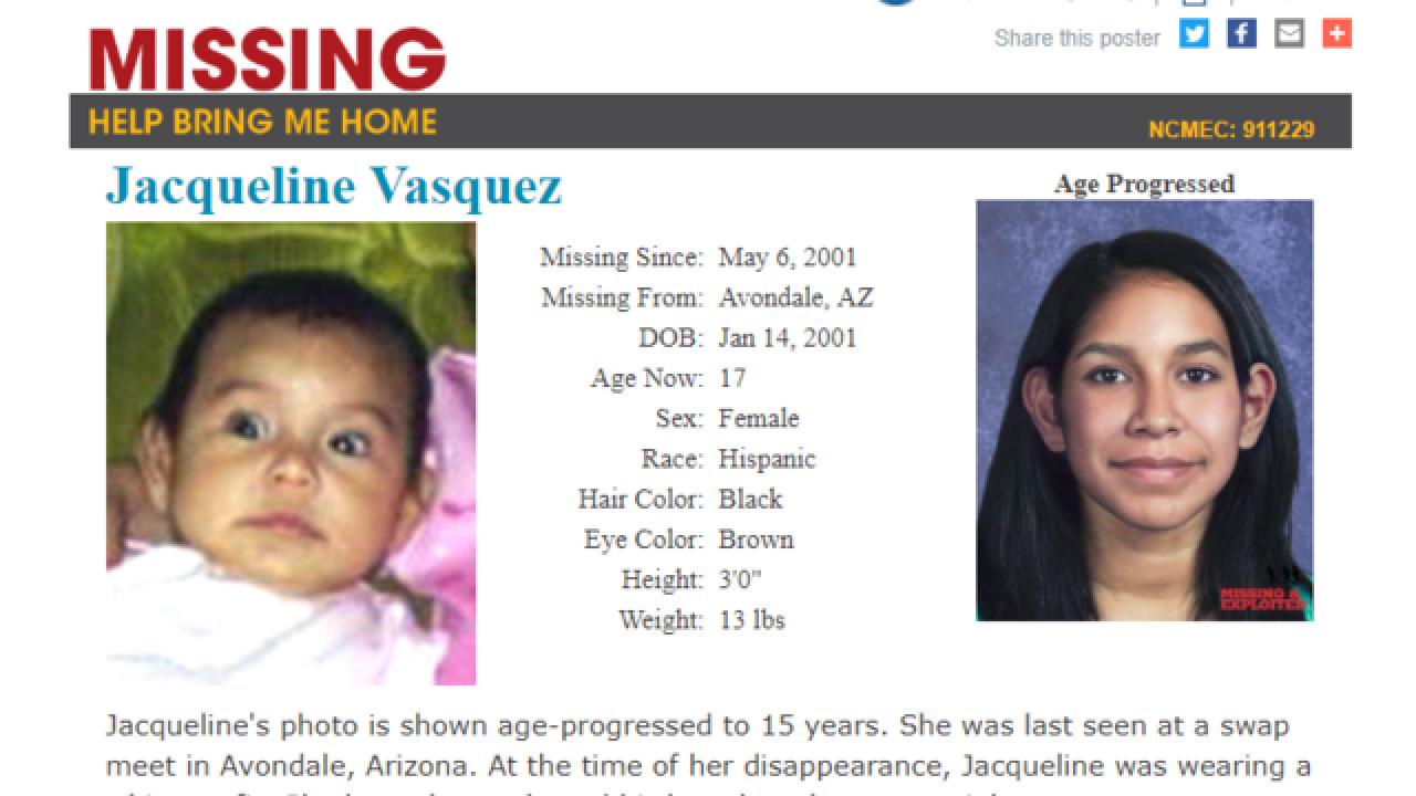 Infant last seen at Avondale swap meet in 2001