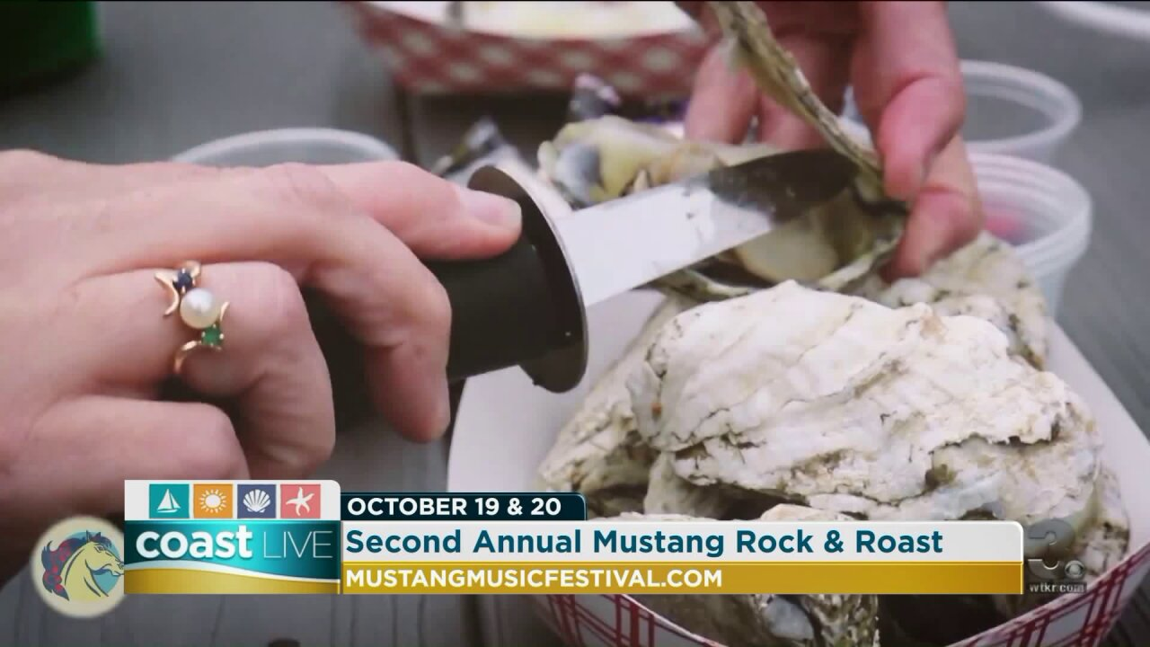 Shucking oysters to prepare for the Mustang Music Rock and Roast on CoastLive