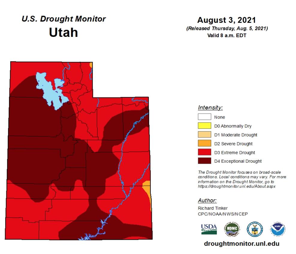 Drought map of Utah