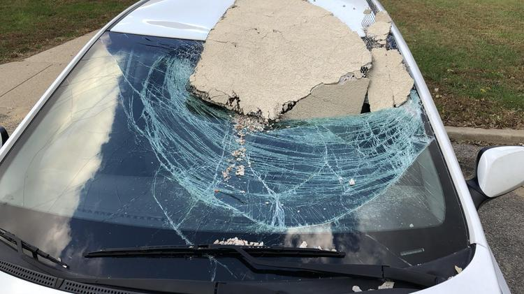This car was damaged when plaster from Terrace Plaza Hotel fell on it in October 2018.