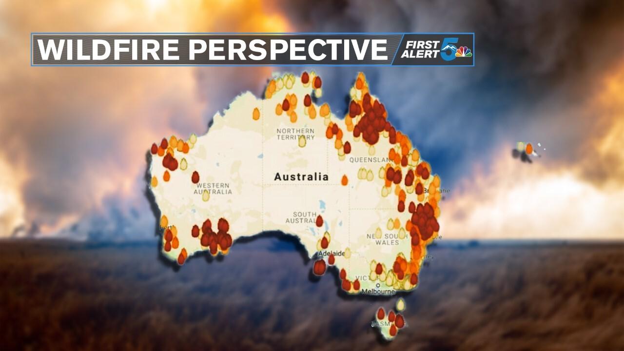 Map of active Australian wildfires