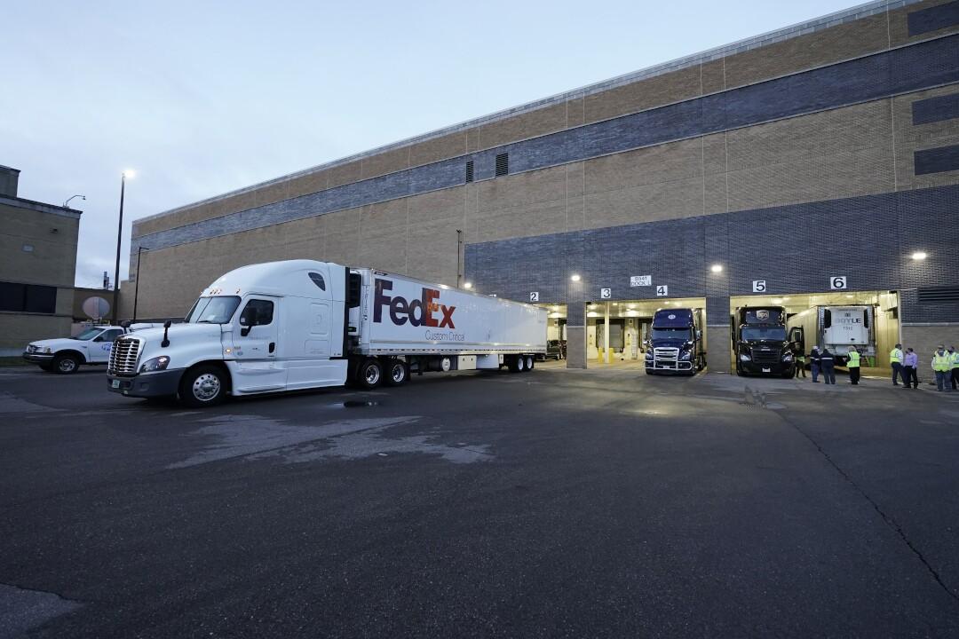 Pfizer Portage plant COVID-19 vaccine shipping FedEx truck December 13 2020.jpg