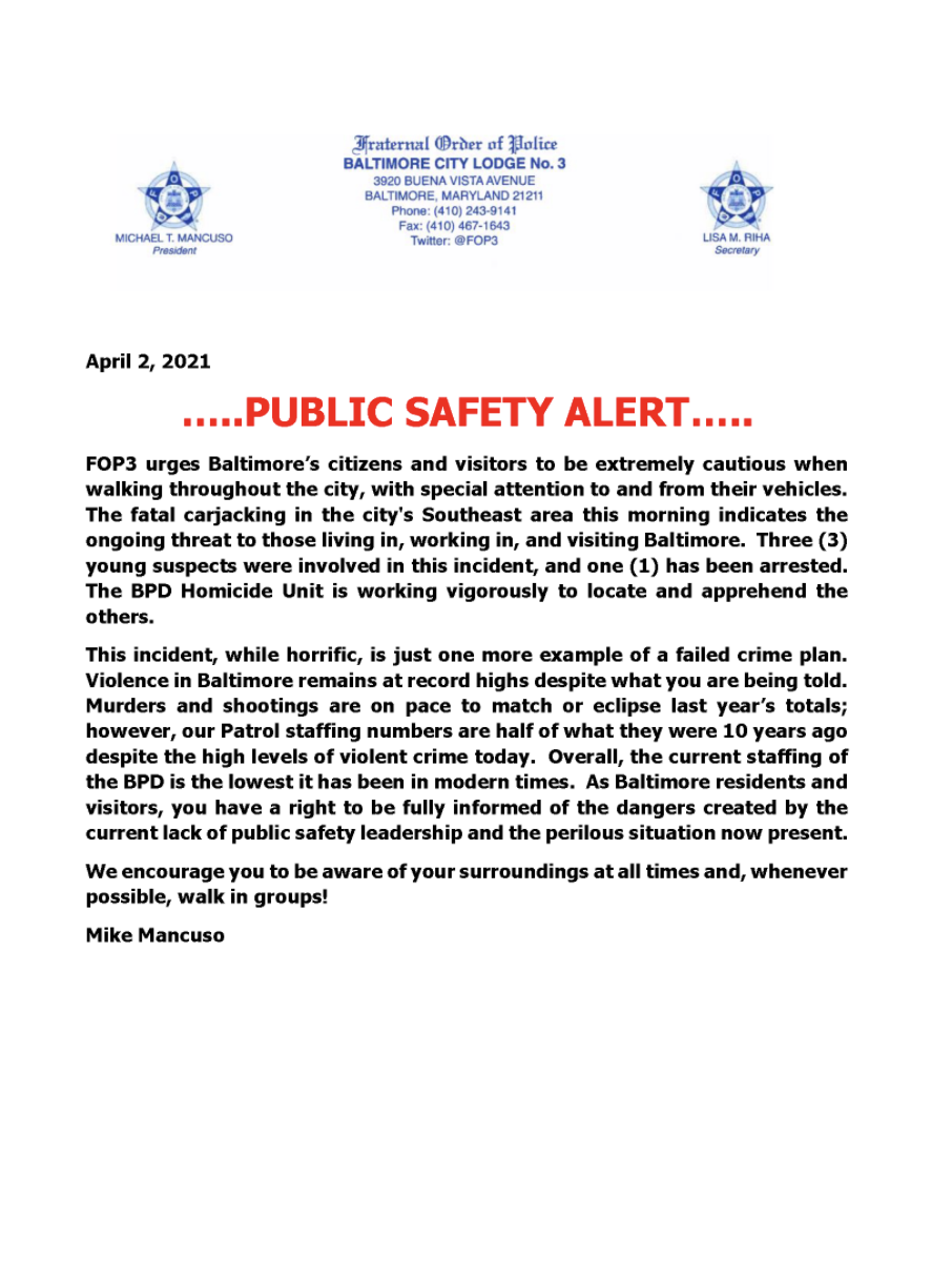 FOP 3 Statement on deadly carjacking