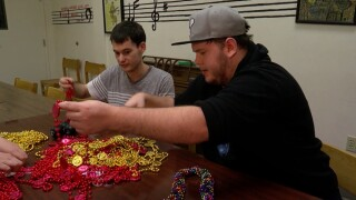 Gasparilla beads being sorted