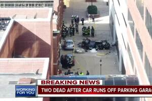 Two killed when vehicle falls from parking garage in downtown Indy