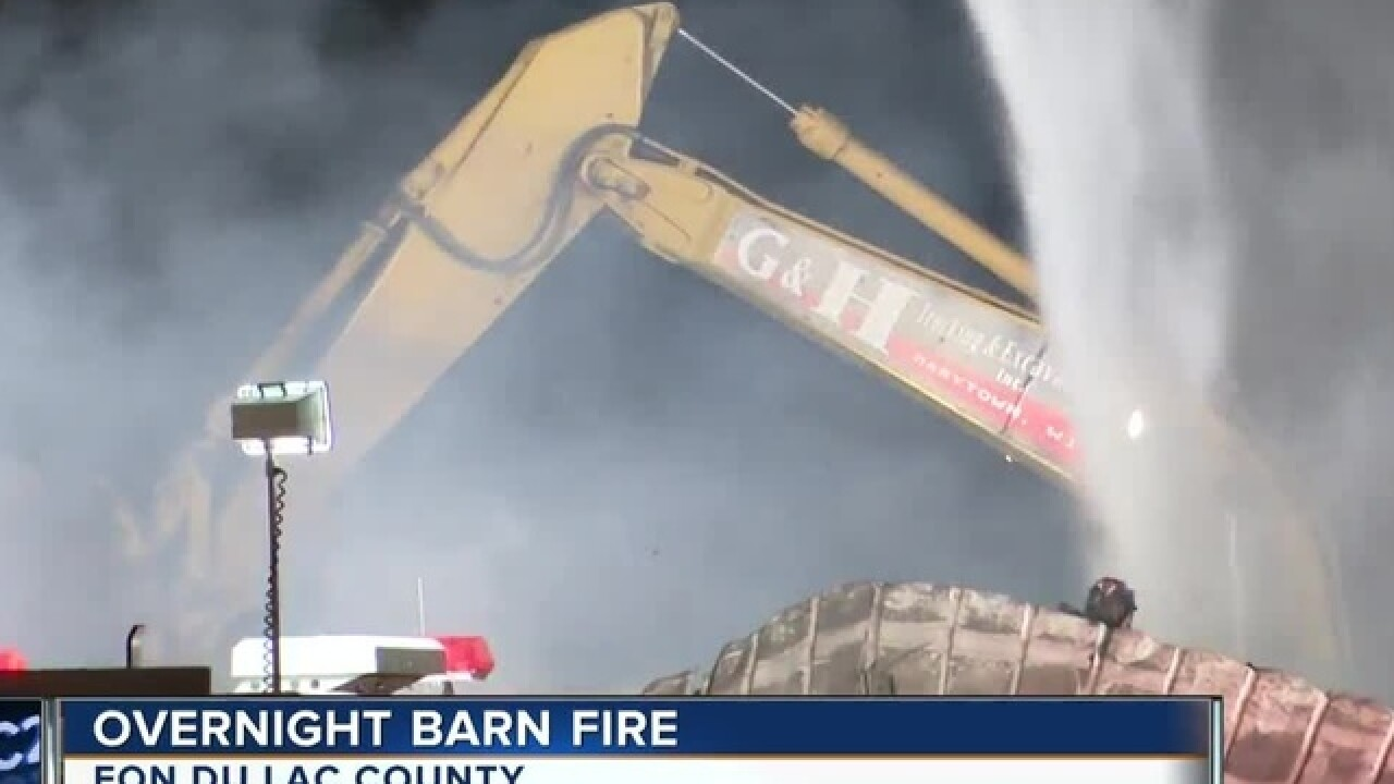 Crews battle barn fire at goat farm in Town of Calumet