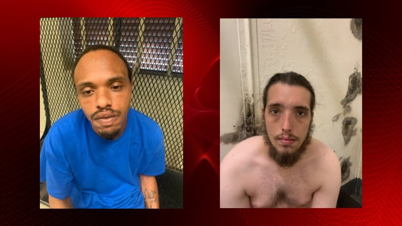 Cedric Batiste, left, and Michael Loria, right, were arrested for armed robbery in Crowley.